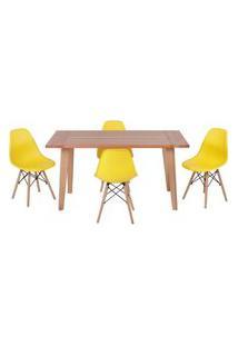 Conjunto Mesa De Jantar Em Madeira 150X80 Vértice + 4 Cadeiras Eiffel - Amarelo