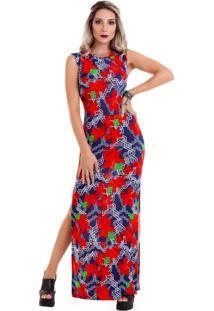Vestido Manola Longo Vermelho Com Fundo Azul Multicolorido
