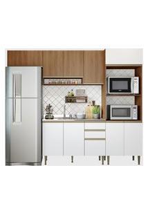 Cozinha 4 Peças C/ Basculante Madeira/Br Be Mobiliário Marrom/Branco