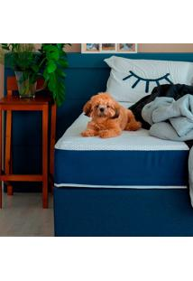 Cama Box Click Solteiro Com Colchão Firme E Travesseiro Guldi Macio (39X88X188) Azul