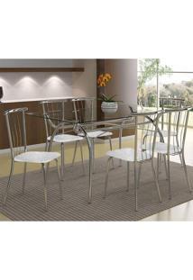 Mesa 379 Com Vidro Incolor Cromada Com 6 Cadeiras 154 Fantasia Branco Carraro