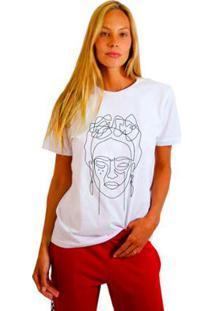 Camiseta Joss Estampada Khalo Feminina - Feminino-Branco