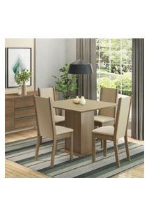 Conjunto Sala De Jantar Madesa Alana Mesa Tampo De Madeira Com 4 Cadeiras Marrom