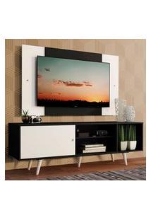 Rack Madesa Dubai Com Pés E Painel Para Tv Até 58 Polegadas - Preto/Branco 77C7 Preto