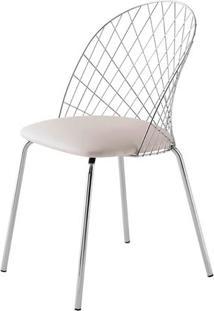 Cadeira Steel Nest Assento Dunas Branco Com Pes Cromados - 46856 Sun House