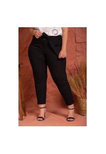 Calça Bengaline Skinny Camille Black Plus Size Domenica Solazzo Calças Preto