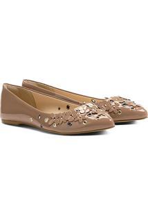 Sapatilha Shoestock Bico Fino Flores Feminina - Feminino-Nude