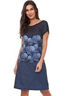 Vestido Mercatto Curto Floral Azul/Preto
