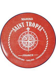 Prato De Sobremesa De Cerâmica Marina Maison Blanche Vermelho 20Cm - 28278