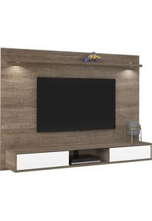 Painel Platinum Canela Para Tv Até 47 Polegadas 2 Portas Com Espelho E Luzes Led -Artely