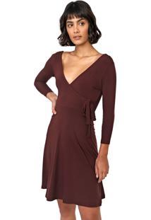 Vestido Hering Curto Transpassado Vinho