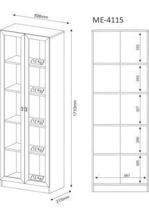 Armário Multiuso 2 Portas De Vidro 4 Prateleiras Tecno Mobili Nogal