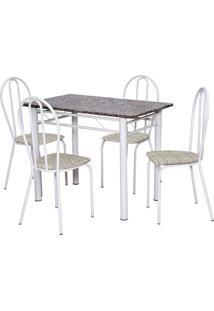 Conjunto De Mesa Monique Com 4 Cadeiras Branca Rattan