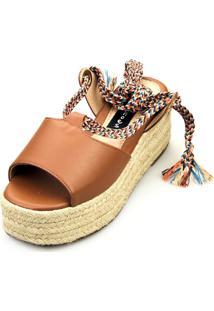 Anabela Espadrille Love Shoes Corda Amarrar Cadarço Caramelo