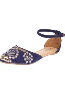 Sapatilha Dafiti Shoes Bordada Azul