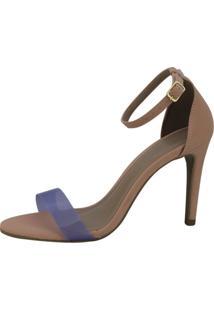 Sandália Salto Alto Vendrata Clássico Vinil Azul E Nobuck Rosa - Kanui