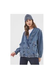 Jaqueta Jeans Colcci Bolsos Azul