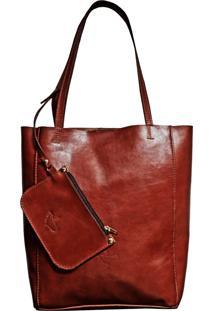 Bolsa Line Store Leather Sacola Shopper N1 Couro Marrom Avermelhado. - Kanui