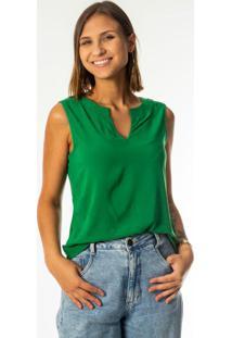 Blusa Sem Manga Em Tecido Com Decote Verde