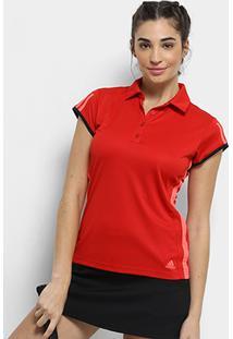 Camisa Polo Adidas Club 3 Listras Feminina - Feminino-Vermelho