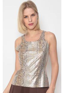 Blusa Com Tule- Dourada & Marrom- Fashion 500Fashion 500