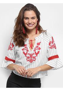 Blusa Colcci Bata Listrada Bordada Feminina - Feminino-Branco+Vermelho