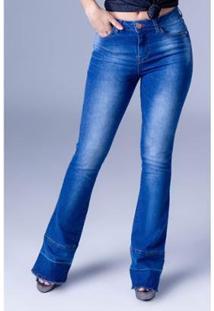 156072807 ... Calça Jeans Boot Cut Equivoco Loren Feminina - Feminino-Azul