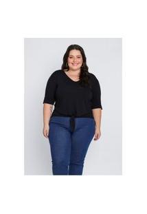 Blusa Plus Size Feminina Mink Com Elástico Na Barra