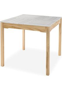 Mesa De Jantar Compacta De Madeira Maciça Taeda Natural Com Tampo Colorido Olga - Verniz Natural/Branca 80X80X75Cm