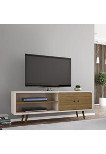 Rack Móveis Bechara Onix Tv Até 60 Pol 2 Portas Off-White/Cinamomo