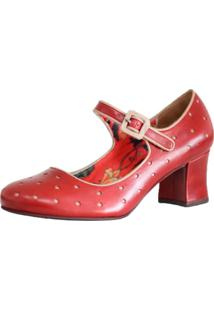 Sapato Boneca Zambeze Salto Grosso Quadrado Em Couro Estilo Retrô Vintage 7825