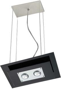 Pendente De Alumínio Spacial Retangular Vidro Preto 2 Lâmpadas 100W Pantoja