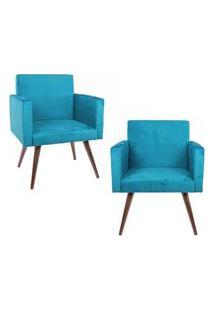 Kit 02 Poltronas Decorativa Pés Palito Nina Suede Azul - Ds Móveis