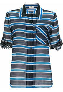 Fendi Blusa De Seda Listrada E Com Transparência - Azul