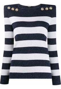 Balmain Suéter Estruturado Com Listras - Azul