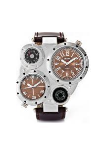 Relógio Masculino Oulm Hp9415 Analógico - Marrom E Prata