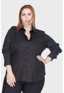 Camisa Acinturada Algodão Com Elastano Plus Size Feminina - Feminino-Preto