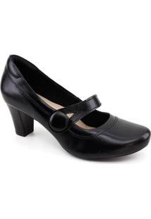 Sapato Boneca Neftali 7302 Couro Feminino - Feminino-Preto