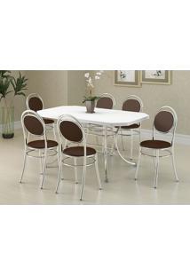 Mesa 1507 Branca Cromada Com 6 Cadeiras 190 Cacau Carraro