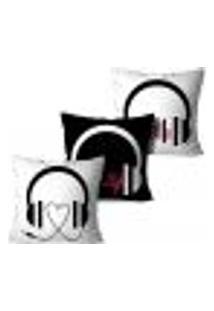 Kit 3 Capas Para Almofadas Decorativas Love Music 35X35Cm