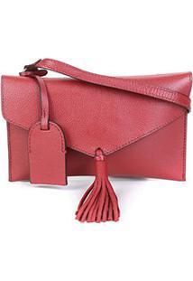 Bolsa Couro Shoestock Crossbody Envelope Feminina - Feminino-Vermelho