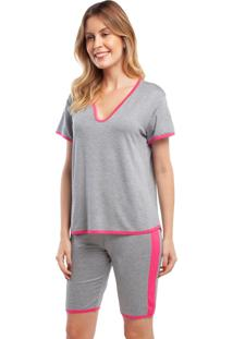 Pijama Com Bermuda Mescla Com Rosa Cinza