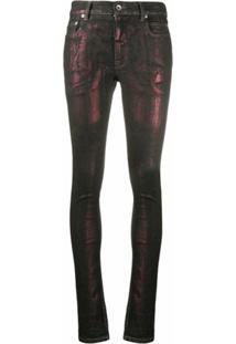 Rick Owens Drkshdw Calça Jeans Skinny Metálica - Preto