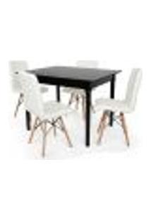 Conjunto Mesa De Jantar Robust 110X90 Preta Com 4 Cadeiras Eiffel Gomos - Branca