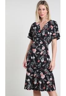 Vestido Feminino Midi Transpassado Estampado Floral Manga Curta Preto