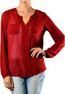 Camisa Marcia Mello Manga Longa Chiffon Bolso Redondo Vermelho