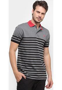 Camisa Polo Gajang Euro Jersey Masculina - Masculino-Cinza+Preto