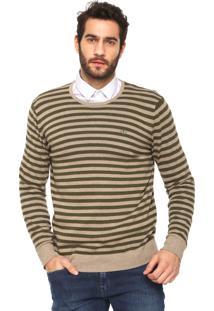 Suéter Dudalina Tricot Listrado Verde