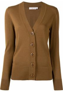 Tory Burch Fine Knit Cardigan - Marrom