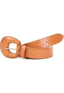 Cinto Couro Shoestock Croco Fivela Redonda Feminino - Feminino-Caramelo